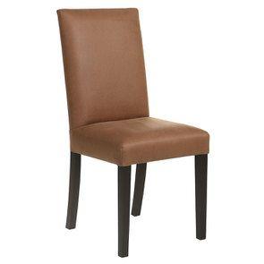 Chaise en hévéa massif noir et éco-cuir cognac - Romane - Visuel n°2