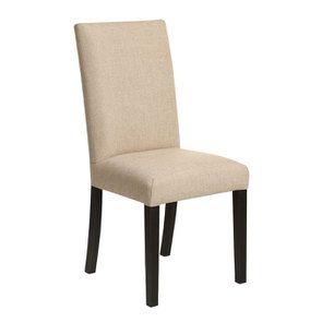 Chaise en hévéa massif noir et tissu ficelle - Romane - Visuel n°2