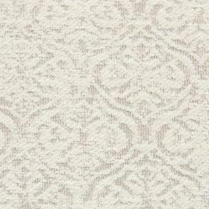 Chaise en hévéa massif et tissu arabesque perle - Romane