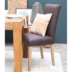 Chaise en tissu éco cuir chocolat et frêne massif - Romane