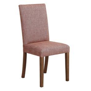 Chaise en tissu orange briqué et frêne massif - Romane - Visuel n°2