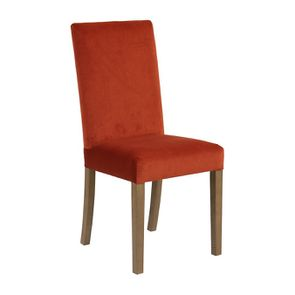 Chaise en tissu velours rouille et frêne massif - Romane - Visuel n°6