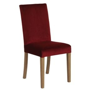 Chaise en frêne massif et tissu velours lie de vin - Romane - Visuel n°2