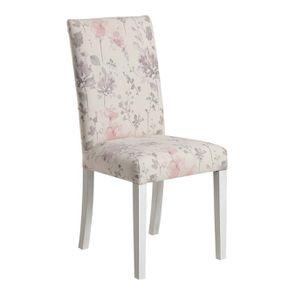 Chaise en hévéa massif et tissu fleurs opaline - Romane - Visuel n°2