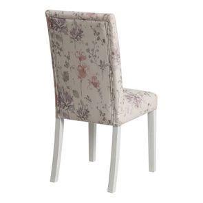 Chaise en hévéa massif et tissu fleurs opaline - Romane - Visuel n°3