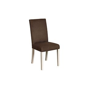 Chaise en hévéa massif et tissu marron glacé - Romane
