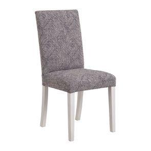 Chaise en hévéa massif et tissu mosaIque indigo - Romane - Visuel n°2