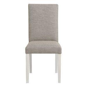 Chaise en tissu losange gris et hévéa massif blanc - Romane