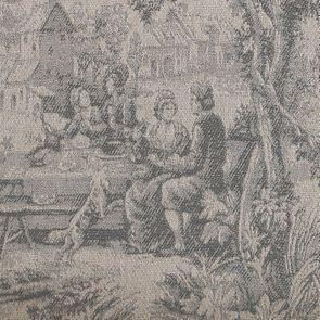 Banquette 2 places en hévéa massif noir et tissu toile de Jouy - Apolline - Visuel n°7