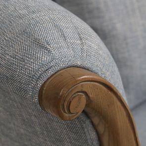 Banquette 2 places en frêne massif et tissu bleu chambray - Apolline - Visuel n°8