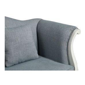 Banquette 2 places en hévéa massif blanc et tissu bleu chambray - Apolline - Visuel n°8