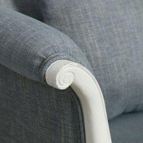 Banquette 2 places en hévéa massif blanc et tissu bleu chambray - Apolline - Visuel n°9