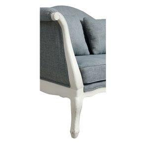 Banquette 2 places en hévéa massif blanc et tissu bleu chambray - Apolline - Visuel n°10
