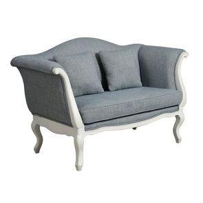 Banquette 2 places en hévéa massif blanc et tissu bleu chambray - Apolline - Visuel n°2