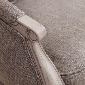 Banquette 3 places en hévéa et tissu gris chambray - Constance - Visuel n°34