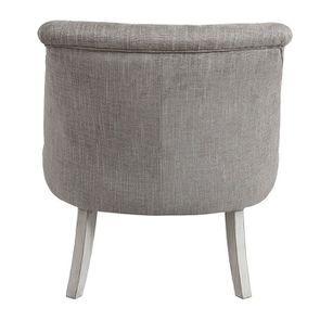 Fauteuil crapaud en hévéa gris argenté et tissu gris - Bastien - Visuel n°4