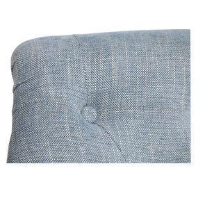 Fauteuil en hévéa gris argenté et tissu bleu - Bastien