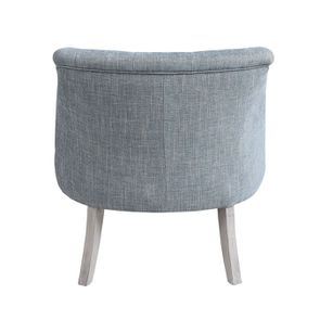 Fauteuil en hévéa gris argenté et tissu bleu - Bastien - Visuel n°7