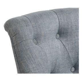 Fauteuil crapaud en hévéa noir et tissu bleu chambray - Bastien - Visuel n°8