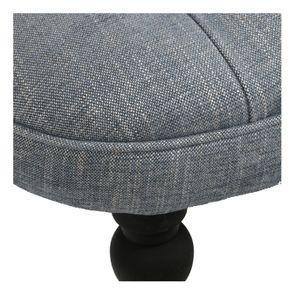 Fauteuil crapaud en hévéa noir et tissu bleu chambray - Bastien - Visuel n°9