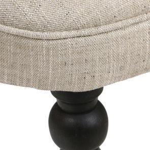 Fauteuil crapaud en tissu mastic grisé et hévéa massif noir - Bastien - Visuel n°9