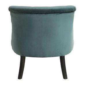 Fauteuil crapaud en hévéa noir et tissu velours vert bleuté - Bastien - Visuel n°4