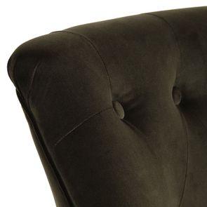 Fauteuil crapaud en hévéa noir et tissu velours kaki - Bastien - Visuel n°8