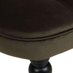 Fauteuil crapaud en hévéa noir et tissu velours kaki - Bastien - Visuel n°9