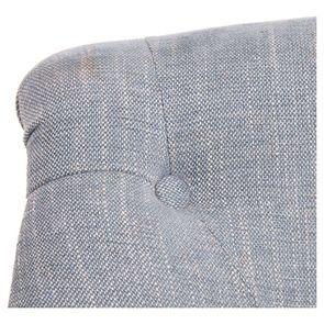Fauteuil crapaud en tissu bleu chambray - Bastien