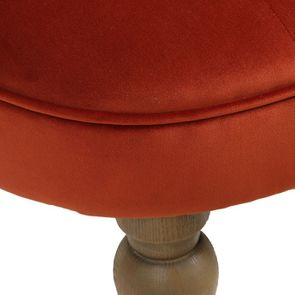 Fauteuil crapaud en tissu velours rouille - Bastien - Visuel n°9