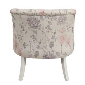 Fauteuil crapaud en hévéa blanc et tissu fleurs opaline - Bastien - Visuel n°5