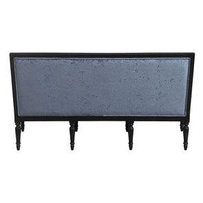 Banquette 3 places en hévéa noir et tissu effet velours bleu – Victoire - Visuel n°8