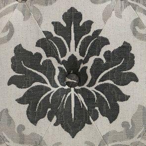 Pouf en hévéa gris et tissu arabesque capitonné - Alfred - Visuel n°7
