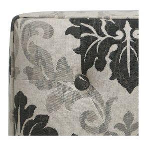 Pouf en hévéa gris et tissu arabesque capitonné - Alfred - Visuel n°8