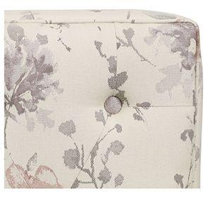 Pouf en hévéa massif et tissu fleurs opalines - Alfred - Visuel n°2
