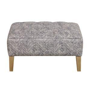 Pouf en frêne massif et tissu mosaïque - Alfred - Visuel n°1