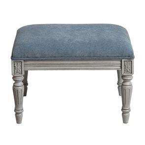 Pouf en hévéa gris argenté et tissu effet velours bleu gris - Edouard