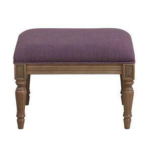Pouf en frêne massif et tissu violet - Édouard
