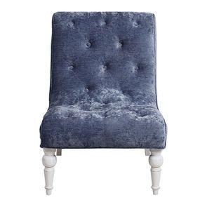 Fauteuil en tissu velours bleu - Léopold - Visuel n°1