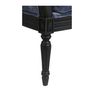 Fauteuil en hévéa noir et tissu Velours bleu - Louis