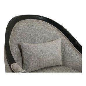 Fauteuil en hévéa noir et tissu gris chambray - Louis - Visuel n°6