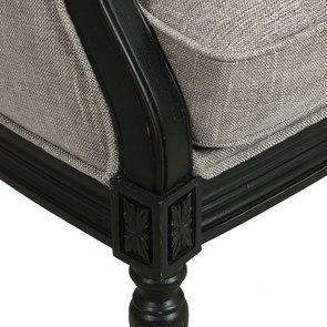 Fauteuil en hévéa noir et tissu gris chambray - Louis - Visuel n°7