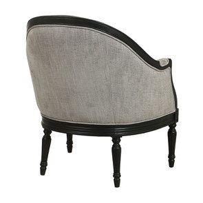 Fauteuil en hévéa noir et tissu gris chambray - Louis - Visuel n°4
