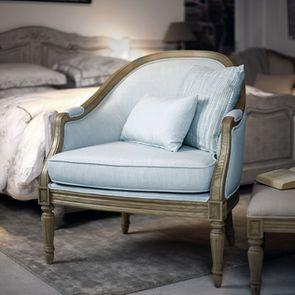 Fauteuil cabriolet en tissu bleu glacier - Louis