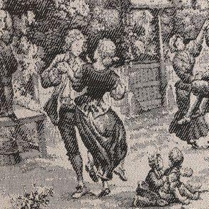 Fauteuil cabiriolet en hévéa noir et tissu toile de Jouy anthracite - Constant - Visuel n°7