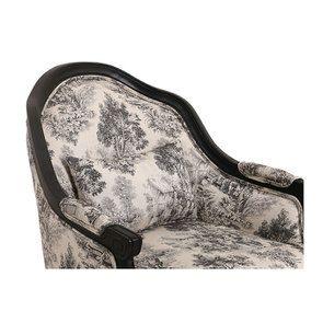 Fauteuil cabiriolet en hévéa noir et tissu toile de Jouy anthracite - Constant - Visuel n°8