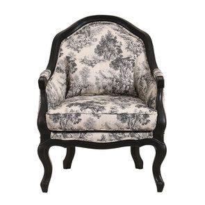 Fauteuil cabiriolet en hévéa noir et tissu toile de Jouy anthracite - Constant - Visuel n°1