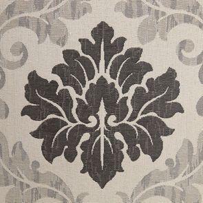 Fauteuil cabriolet en hévéa noir et tissu beige à motifs - Constant