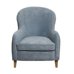 Fauteuil en tissu Velours bleu gris - Oscar - Visuel n°4