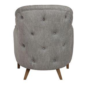 Fauteuil en tissu gris chambray - Oscar - Visuel n°4